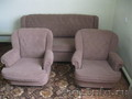 Диван серый с двумя креслами